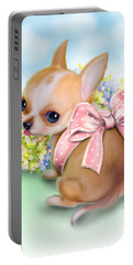 Portable Battery Charger featuring the painting Caramel Chihuahua Baby by Catia Lee