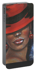 Portable Battery Charger featuring the painting Carbaret Red by Alga Washington