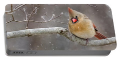 Cardinal And Falling Snow Portable Battery Charger
