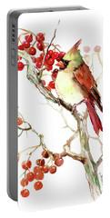 Cardinal Bird And Berries Portable Battery Charger by Suren Nersisyan