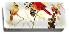 Cardinal Birds And Berries Portable Battery Charger