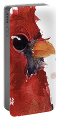 Portable Battery Charger featuring the painting Cardinal by Dawn Derman
