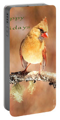 Portable Battery Charger featuring the photograph Cardinal Happy Holidays by Debbie Stahre