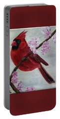Cardinal In Cherry Blossoms Portable Battery Charger