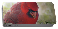 Portable Battery Charger featuring the photograph Cardinal In Flowers by Debbie Portwood