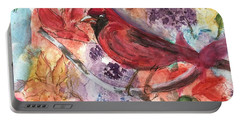 Cardinal In Flowers Portable Battery Charger