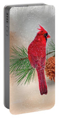 Cardinal In Snow Portable Battery Charger by Mary Timman