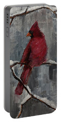 Cardinal North Carolina State Bird In Snow Portable Battery Charger