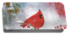 Cardinal With Red Berries And Pine Cones Portable Battery Charger