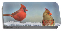 Cardinals And Icicles Portable Battery Charger
