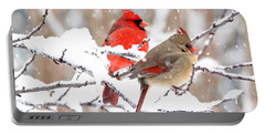 Cardinals In The Winter Portable Battery Charger