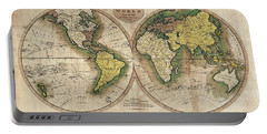 Portable Battery Charger featuring the photograph Carey's Map Of The World  1795 by Daniel Hagerman