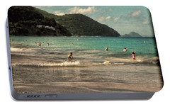 Portable Battery Charger featuring the photograph Caribbean Beach Scenic In Grunge by Rosalie Scanlon