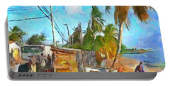 Caribbean Scenes - Beach Village Portable Battery Charger by Wayne Pascall
