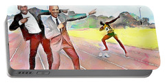 Caribbean Scenes - Obama And Bolt In Jamaica Portable Battery Charger