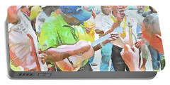 Portable Battery Charger featuring the painting Caribbean Scenes - Parang Musicians by Wayne Pascall