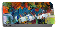 Caribbean Scenes - Steel Band Practice Portable Battery Charger by Wayne Pascall