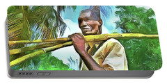 Portable Battery Charger featuring the painting Caribbean Scenes - Sugarcane Meal by Wayne Pascall