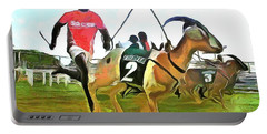 Portable Battery Charger featuring the painting Caribbean Scenes - Goat Race In Tobago by Wayne Pascall