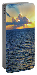 Portable Battery Charger featuring the photograph Caribbean Sunrise At Sea - Ocean - Sun Rays by Jason Politte