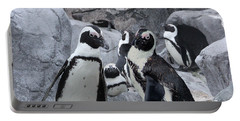 Portable Battery Charger featuring the digital art Carissa's Penguins by Michele A Loftus