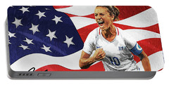 Portable Battery Charger featuring the digital art Carli Lloyd by Taylan Apukovska