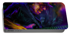 Portable Battery Charger featuring the painting Carlos Santana by DC Langer