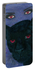 Portable Battery Charger featuring the painting Carmilla - Black Panther Vampire by Carrie Hawks