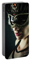 Portable Battery Charger featuring the photograph Carnival Mask Closeup Girl Portrait by Dimitar Hristov