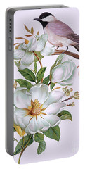 Carolina Chickadee And Magnolia Flower Portable Battery Charger