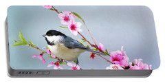 Carolina Chickadee And Peach Blossoms Portable Battery Charger