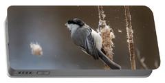 Carolina Chickadee Feeding On Cattail Portable Battery Charger