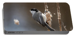 Carolina Chickadee Feeding On Cattail Portable Battery Charger