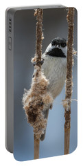 Carolina Chickadee On Cattails Portable Battery Charger
