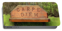 Portable Battery Charger featuring the photograph Carpe Diem Bench by Art Block Collections