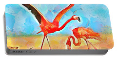 Caribbean Scenes - Trinidad's Scarlet Ibis/flamingo Portable Battery Charger by Wayne Pascall