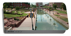Carroll Creek Park In Frederick Maryland With Watercolor Effect Portable Battery Charger