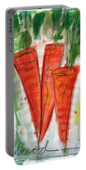Carrots Portable Battery Charger by Linda Woods