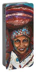 Portable Battery Charger featuring the painting Carrying Basket by Alga Washington