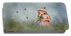 Carrying Tulips For You Portable Battery Charger by Mary Timman