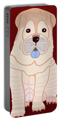 Cartoon Shar Pei Portable Battery Charger by Marian Cates