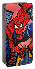 Cartoon Spiderman Portable Battery Charger by Nora Shepley