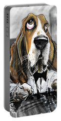 Casablanca Basset Hound Caricature Art Print Portable Battery Charger