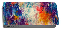 Portable Battery Charger featuring the painting Cascade Into The Oceans by Tracy Bonin