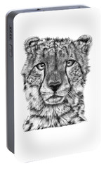 Portable Battery Charger featuring the drawing Cassandra The Cheetah by Abbey Noelle