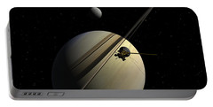 Cassini Passing Tethys Portable Battery Charger
