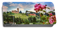 Castle And Roses In Firenze Portable Battery Charger