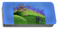 Portable Battery Charger featuring the painting Castle In The Sky by Johanne Peale