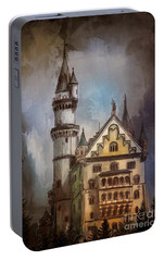 Portable Battery Charger featuring the painting Castle Neuschwanstein by Andrzej Szczerski