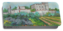 Portable Battery Charger featuring the painting Castle On The Upper Rhine River by Diane McClary